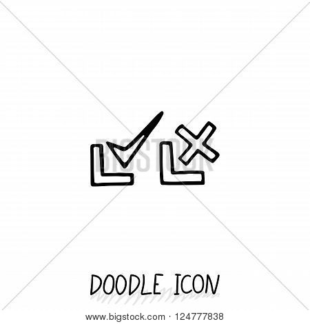 Doodle check mark icons. Symbols for YES and NO. Set of pictogram.