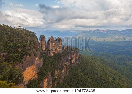 The famous Three Sisters rock formation viewed from the Echo Point Lookout. Katoomba, NSW, Australia.