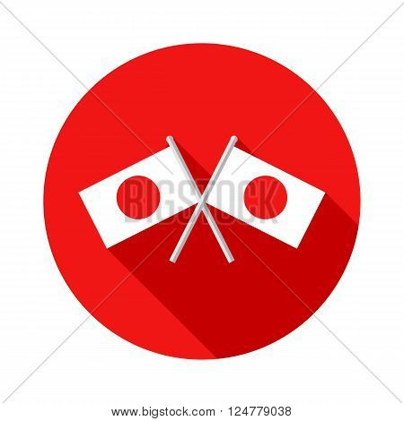 Icon with Japanese crossed flags. National Foundation Day in Japan. Isolated vector illustrations. Vector flat illustration.