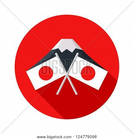 Icon with Japanese flag on a background of Mount Fuji. National Foundation Day in Japan. Isolated vector illustrations. Vector flat illustration.