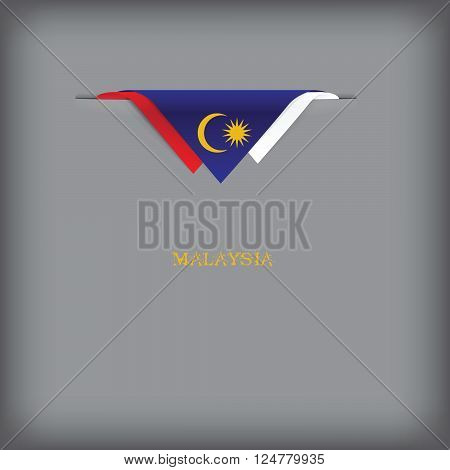 Banner Malaysia with the national symbols of the country and the colors of the flag.