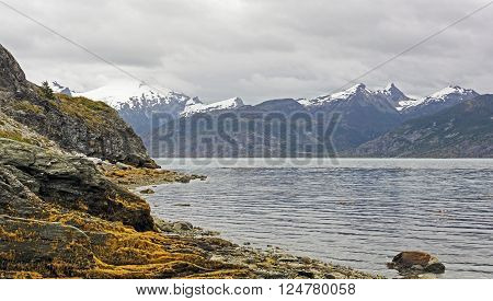 Coastal Scene in on a Cloudy Day in Tierra del Fuego in Chile