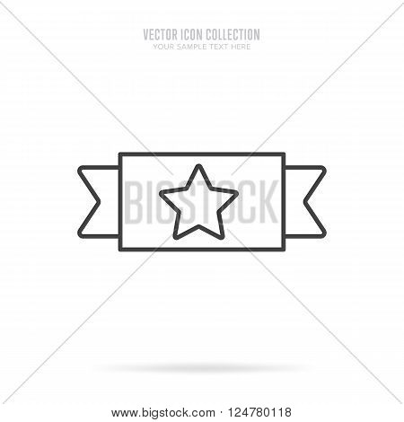 Winner badge isolated vector in flat design style. Linear winner badge or label. First place. Winner badge. Award rosette badge. Award symbol. Special sign. Winner. Award sign.