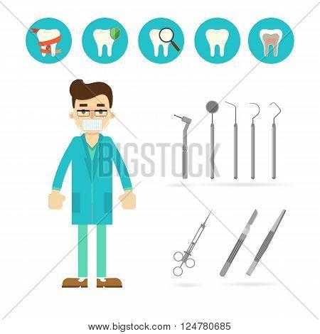 Dentist equipment isolated on white background, vector illustration.