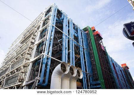 PARIS, FRANCE - MARCH 26, 2016: Centre Georges Pompidou,Paris. The Centre of Georges Pompidou is one of the most famous museums of the modern art in the world.