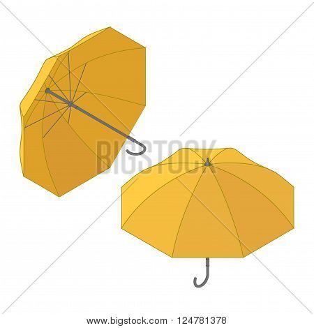Umbrella icon, vector symbol in flat isometric style. Umbrella icon, modern minimal flat design style symbol, vector illustration. Umbrella symbol. Vector illustration of flat color icon long shadow.