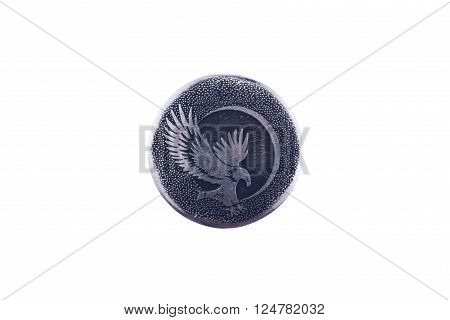 eagle symbol of freedom, strength. Silver sign isolated