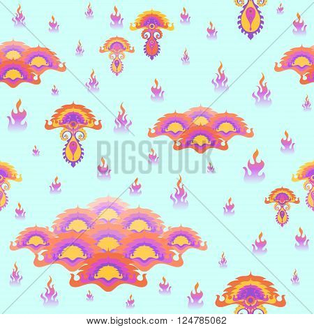 Colorful floral botanical seamless pattern. Vector illustration