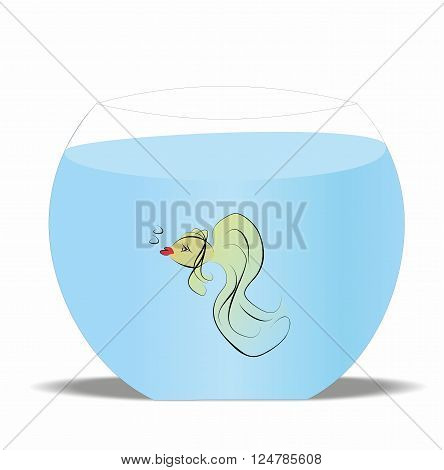 Lonely Goldfish swim in a fishbowl with water