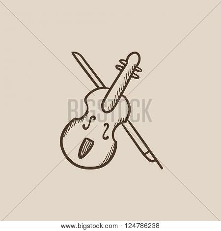 Violin with bow sketch icon.