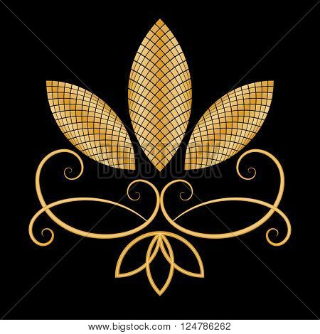 Abstract gold flower on black background vector card.