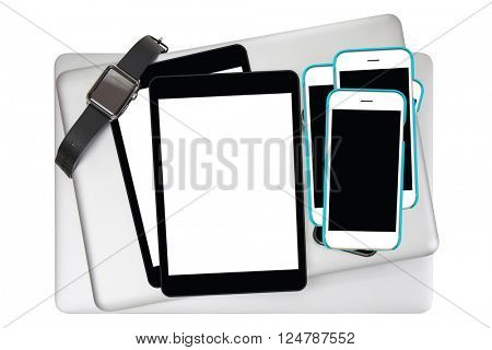 Smart watch with leather bands, black tablet computer, smart phone with white blank screen on silver notebook isolated on white background