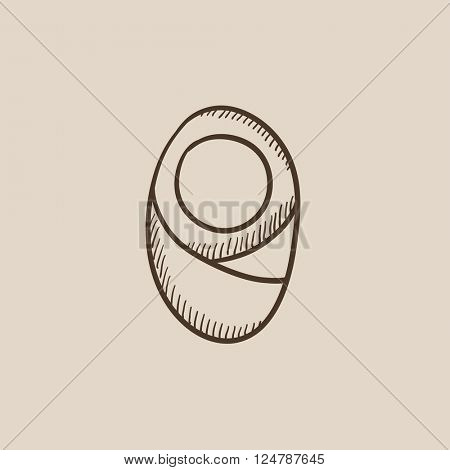 Infant wrapped in swaddling clothes sketch icon.