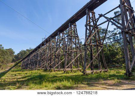 The Stony Creek Vintage Trestle Bridge. Old railroad bridge, Victoria, Australia