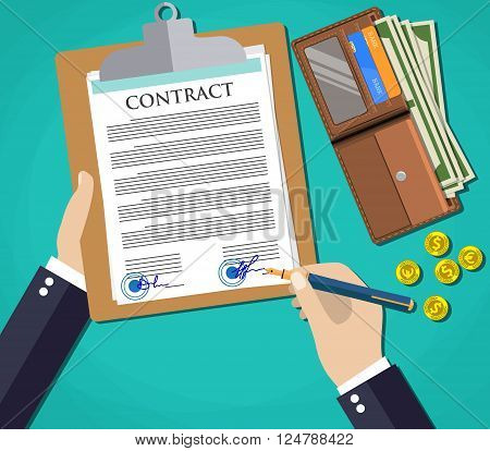 Businessman document signing up contract agreement, green background with wallet with cash dollars, euro and coins. vector illustration in flat design