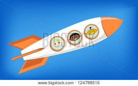 vector illustration of a space rocket flying into space with astronauts on board - European African and Asian