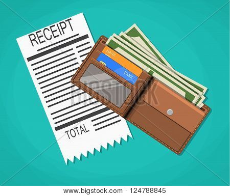 receipt, money cash with dollar banknotes, credit debit bank cards inside of leather wallet. vector illustration in flat design on green background
