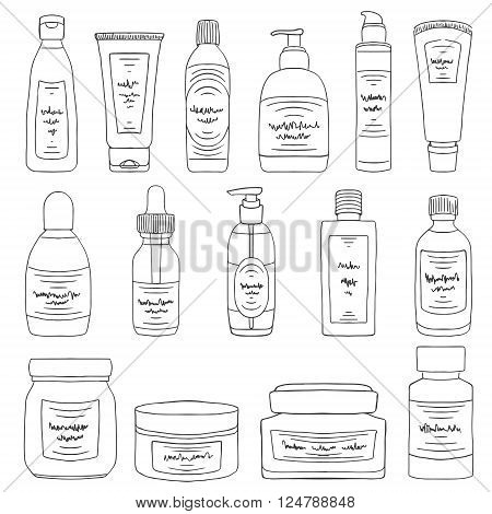 Doodle Cosmetic Packs Woman Beauty Products Set Black White