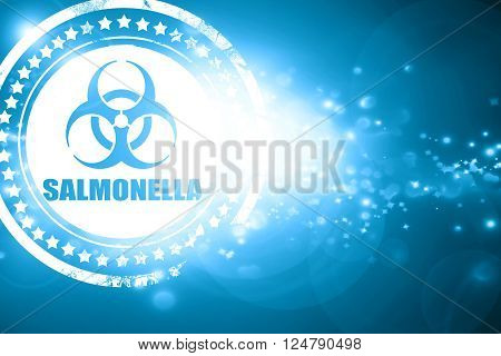 Glittering blue stamp: Salmonella concept background with some soft smooth lines