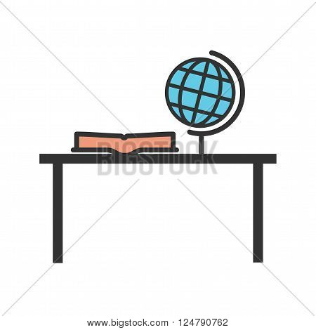 Study, desk, studying icon vector image. Can also be used for schooling. Suitable for use on web apps, mobile apps and print media.