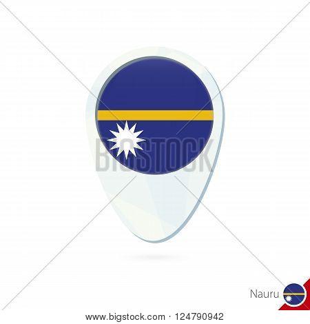 Nauru Flag Location Map Pin Icon On White Background.