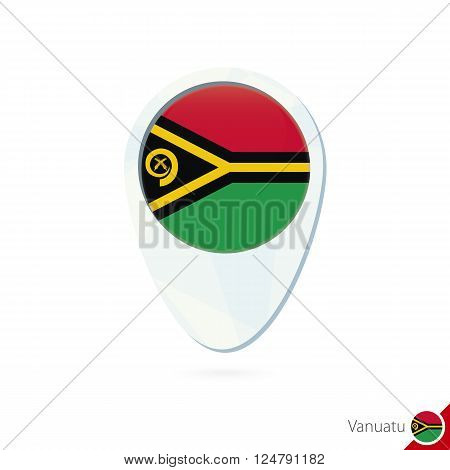 Vanuatu Flag Location Map Pin Icon On White Background.