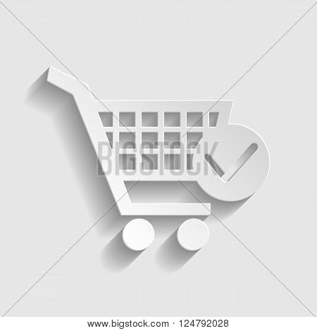 Shopping Cart and Check Mark Icon. Paper style icon with shadow on gray.