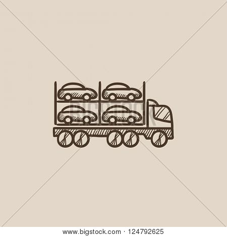 Car carrier sketch icon.