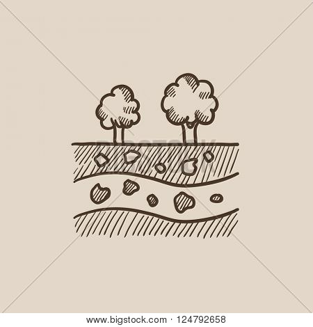 Cut of soil with different layers and trees on top sketch icon.