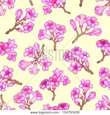 Pink rhododendron blossom seamless pattern. Vector hand-drawn illustration
