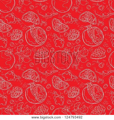 Pomegranate . Juicy fruit. Spray juice and juice drops. Vector seamless pattern (background).