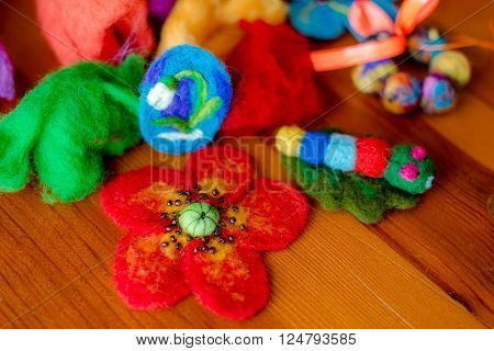 Felting wool wool products flower made of wool