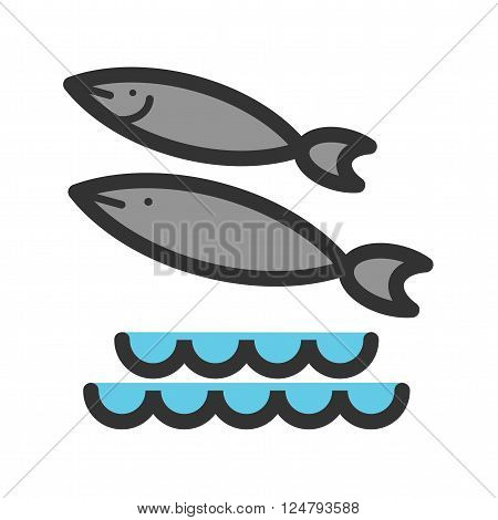 Fish, sea, swimming icon vector image. Can also be used for sea. Suitable for use on web apps, mobile apps and print media.