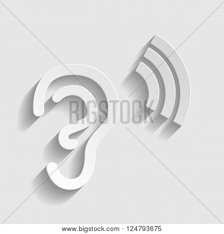 Human ear sign. Paper style icon with shadow on gray.