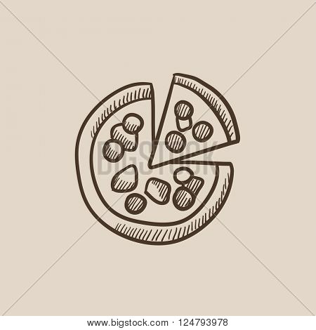 Whole pizza with slice sketch icon.