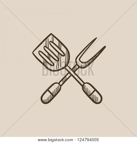 Kitchen spatula and big fork sketch icon.