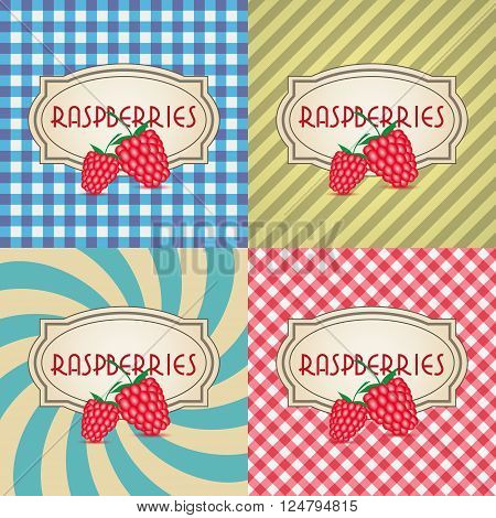 Four Types Of Retro Textured Labels For Raspberries Eps10