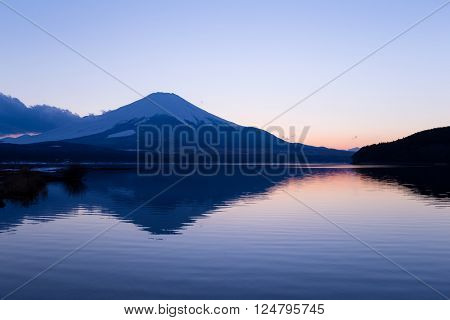 Mt. Fuji and lake yamanaka at evening