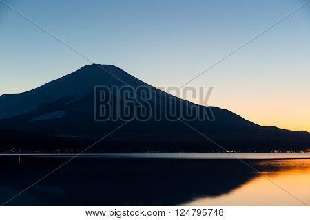 Mt. Fuji and Lake Yamanaka at evening