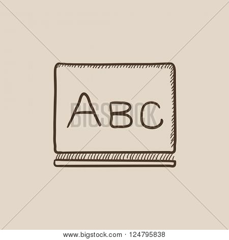 Letters abc on blackboard sketch icon.