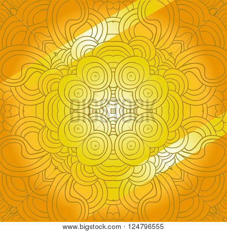 Vector abstract golden tracery. Can be used as card, invitation, adult coloring book, coloring page.