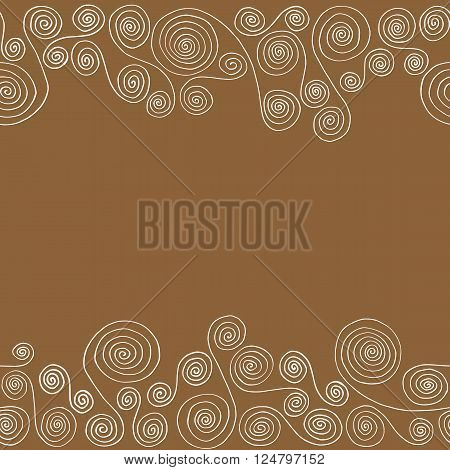 Seamless horizontal pattern frame of curlicues on a brown background