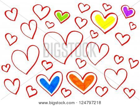 Color Bright Hearts On White Background