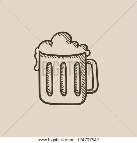 Mug of beer sketch icon.