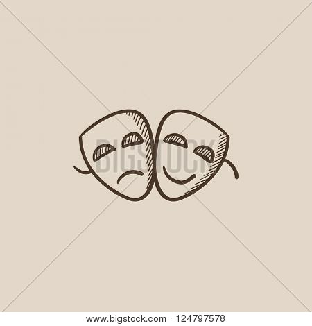 Two theatrical masks sketch icon.