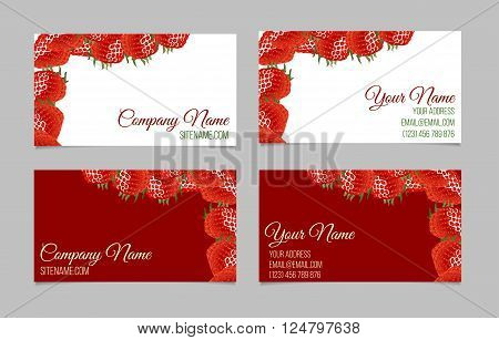 Vector business card set. This file can be used for advertising, print design. Visit card, invitation, greeting card. Two double-sided visit cards with strawberry