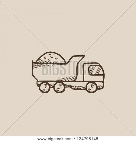 Dump truck sketch icon.