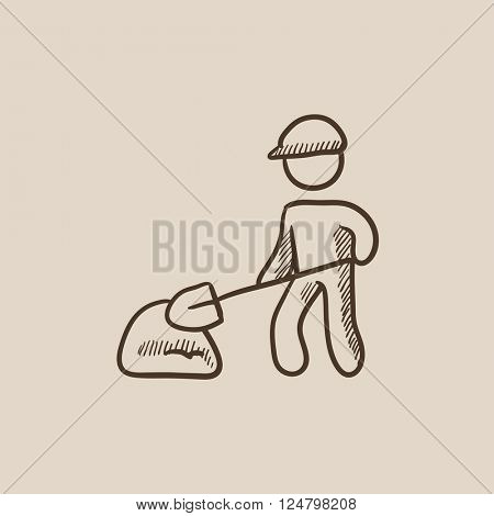 Man with shovel and hill of sand sketch icon.