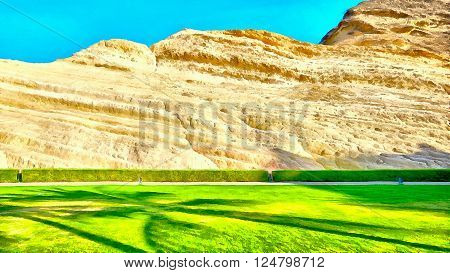 Digital painting of a beautiful lawn and well kept hedge with a textured layered rock face / mountain in the background