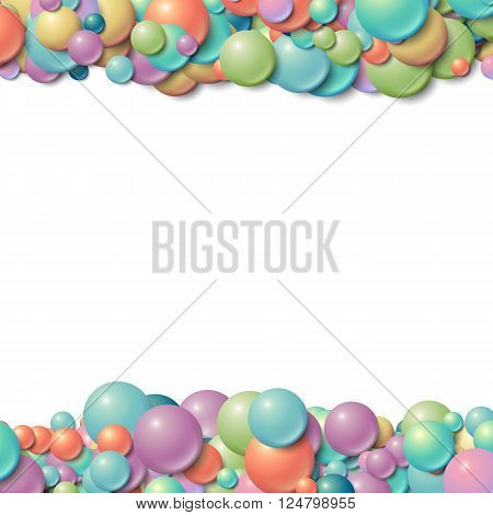 Background with scattered messy glowing rubber balls - 3D
